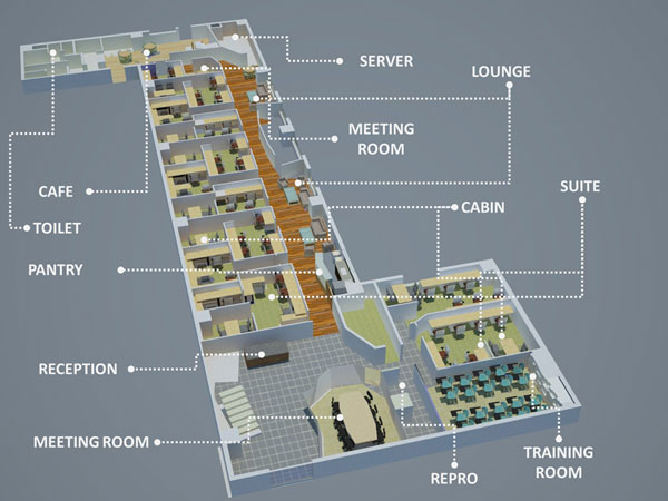 layout office rent ground floor